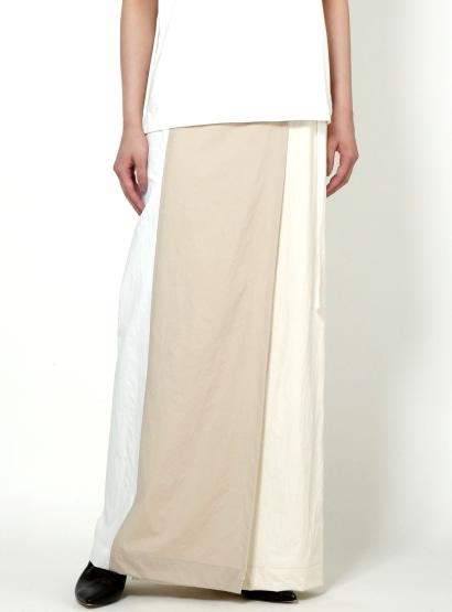 カラーブロック巻きスカート